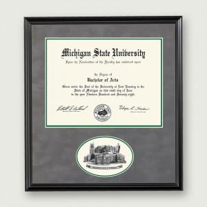 Mich-St-Diploma-Frame-Oval–Black