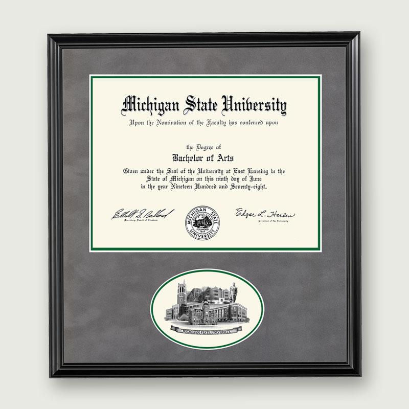 michigan state university mich st diploma frame ovalblack - Michigan State Diploma Frame