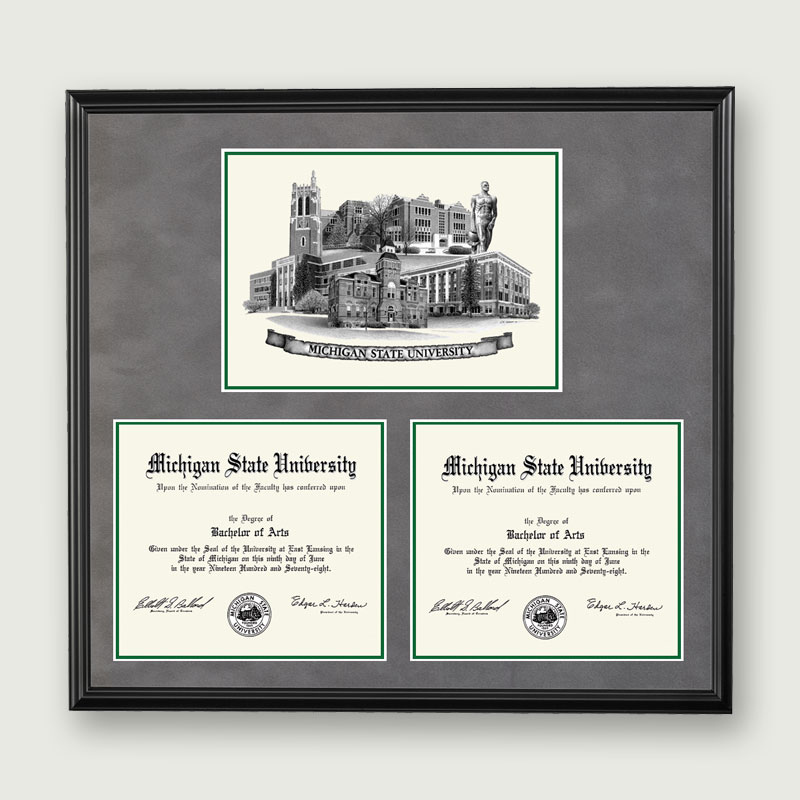 michigan state university mich st double diplomablack - Michigan State Diploma Frame