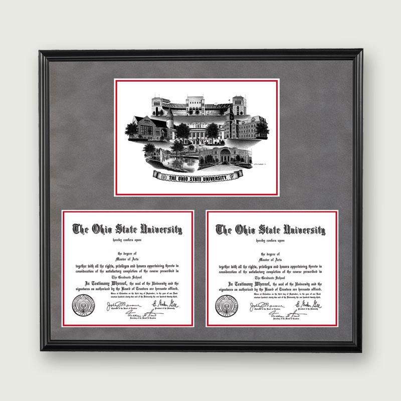Alumni Artwork Double Diploma Frame