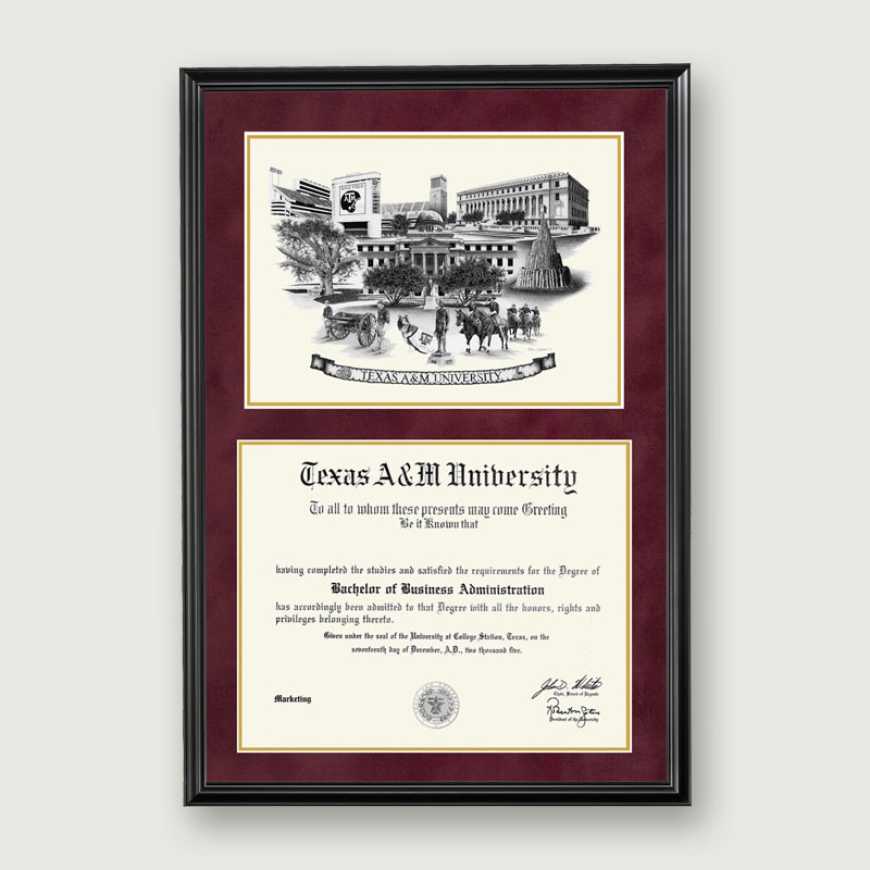Alumni Artwork | Artistic Diploma Frame – Deluxe Matting